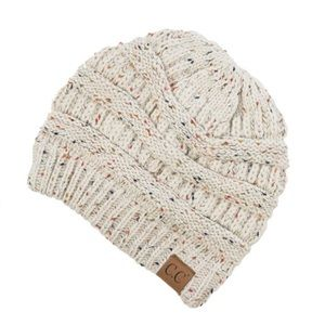 NWT C.C. Confetti Ivory Speckled Beanie